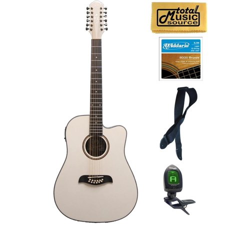 Oscar Schmidt OD312CEWH 12-Strings A/E Guitar - White, Bundle, OD312CEWH PACK ()