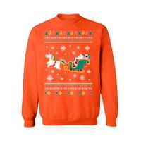 Awkward Styles Ugly Christmas Sweater Christmas Sweater Santa with Unicorn Christmas Sweatshirt