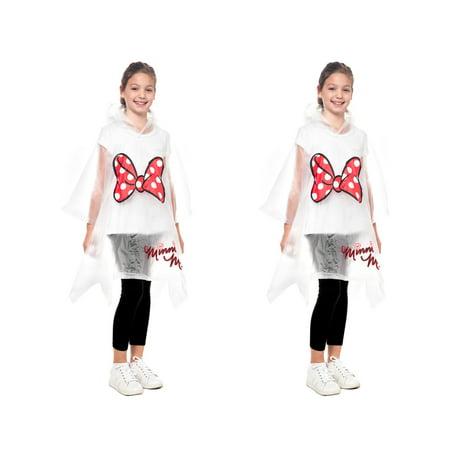 Girls Boys Mickey Minnie Rain Poncho - 2 - Striped Girls Poncho