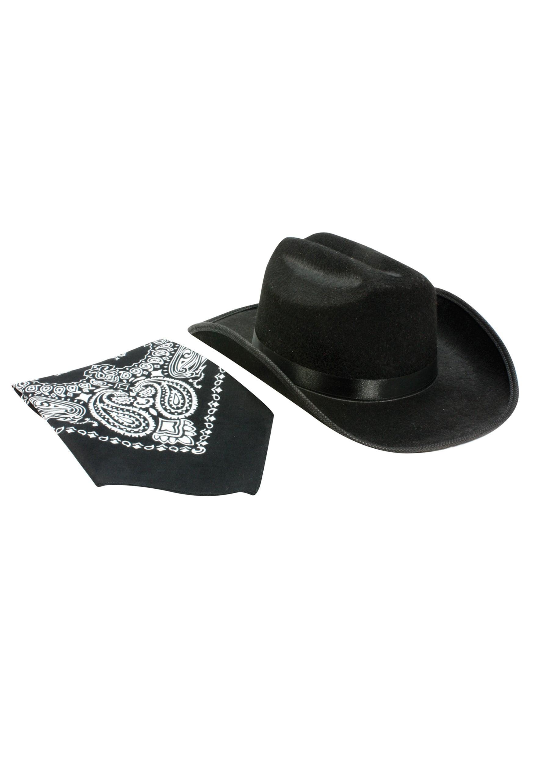 7afa9656197 Kids Black Cowboy Hat and Bandana Set - Walmart.com