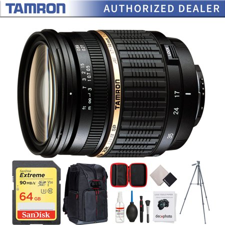 """Tamron 17-50mm f/2.8 XR Di-II LD [IF] SP AF Zoom Lens for Nikon D40 (Built-in Motor) AF016NII-700 + 64GB Memory Card + Photo Camera Sling Backpack + Vanguard 60"""" Video Tripod +All-in-One Cleaning Kit"""