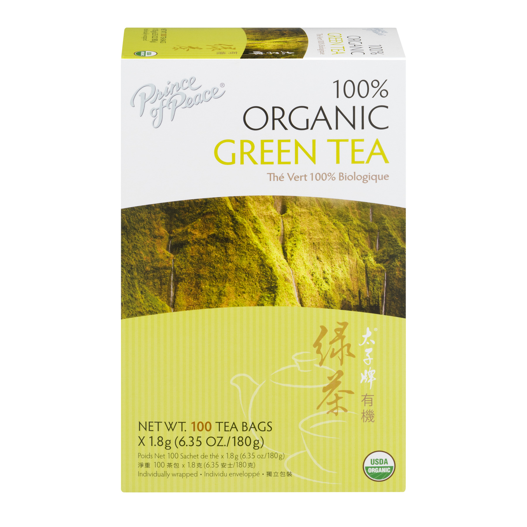 Prince Of Peace 100% Organic Green Tea Bags - 100 CT
