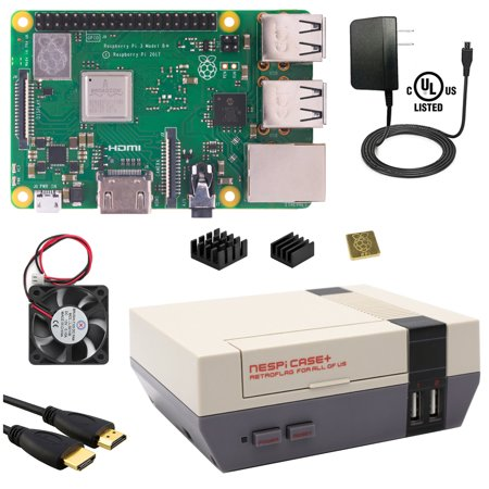 Berryku Raspberry Pi NESPi Starter Plus Kit - NESPi Case+, Raspberry Pi 3 B+ (B Plus), Power Supply (B Stock Supply)