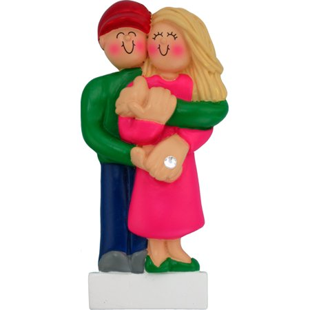Engagement Female Blonde Personalized  Christmas Ornament DO-IT-YOURSELF