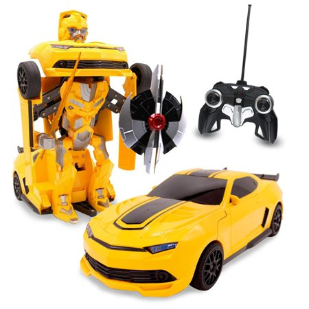Kids RC Toy Transforming Robot Remote Control Sports Car 1/14 Scale Toys For Boys (Yellow)](Remote Control Robots For Kids)