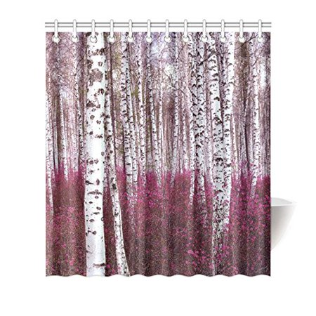 HelloDecor Birch Tree Shower Curtain Polyester Fabric Bathroom Decorative Size 66x72 Inches
