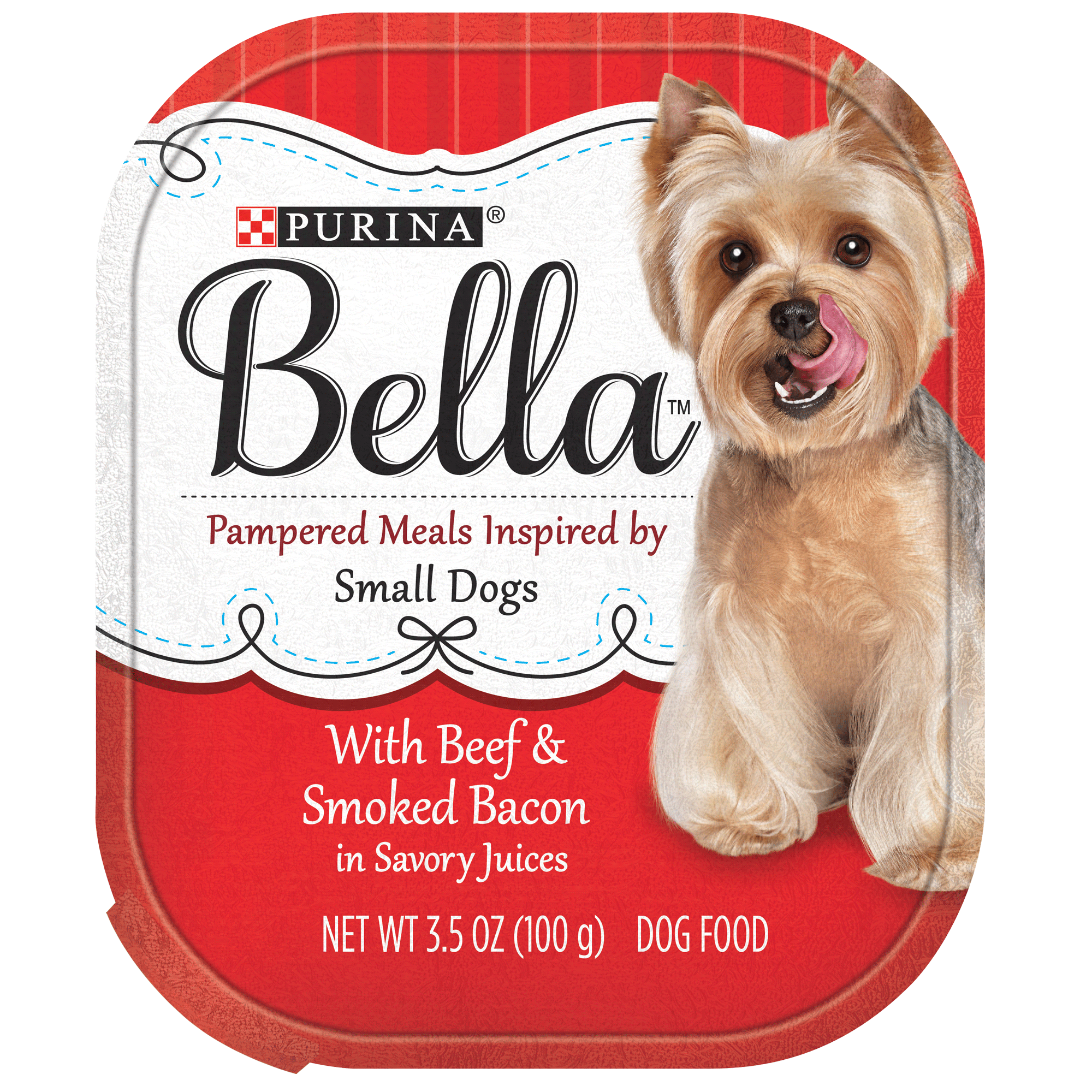 Purina Bella with Beef & Smoked Bacon In Savory Juices Adult Wet Dog Food, 3.5 oz. Tray (12 Pack)