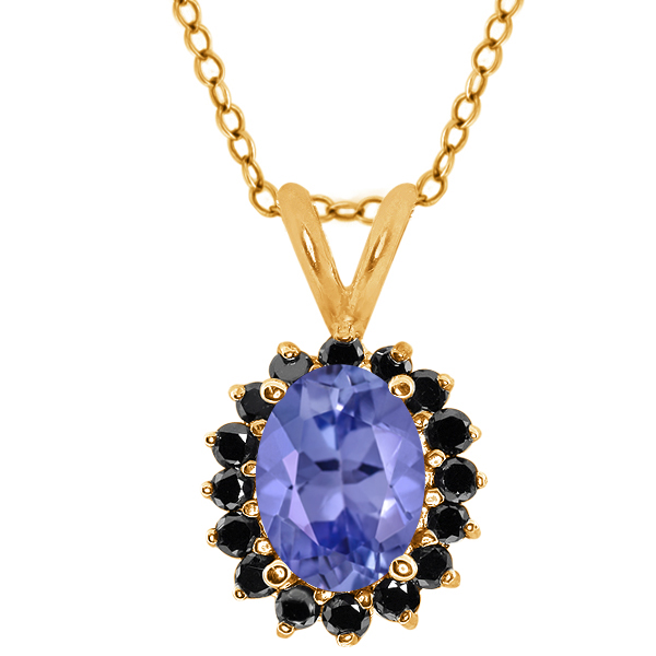 Oval Blue Tanzanite Black Diamond Gold Plated Sterling Silver  Pendant 1.48 Cttw With 18 Inch Chain