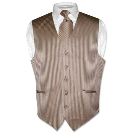 Men's Dress Vest NeckTie MOCHA Lt. BROWN Vertical Striped Design Neck Tie (Brown Striped Vest)