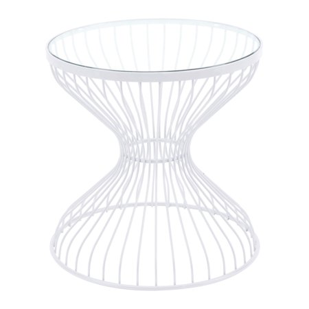 Modern Contemporary Round Sofa Side End Table, White, Tempered Glass Steel ()