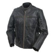 Mossi Drifters Men'S Premium Leather Jacket (Black, Size 52)
