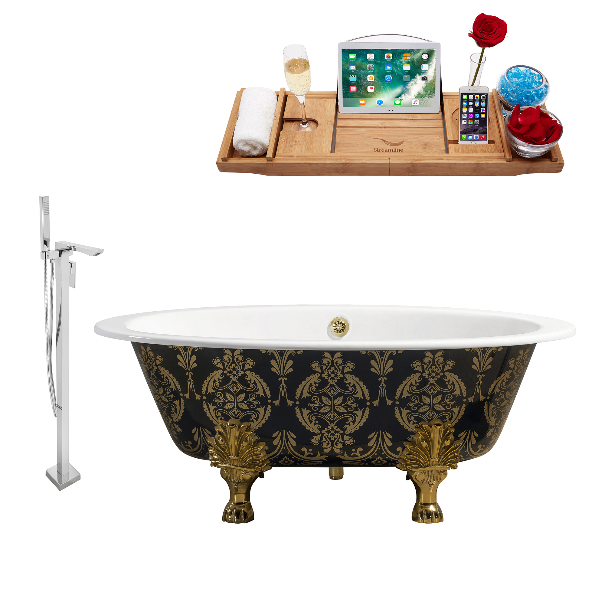 "Cast Iron Tub, Faucet and Tray Set 65"" RH5440GLD-GLD-140"