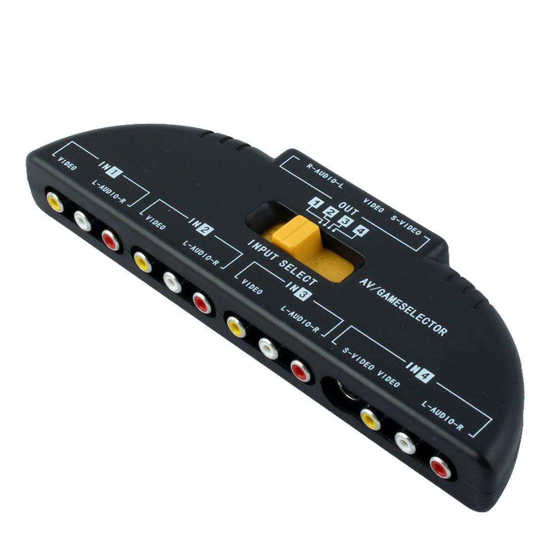 Unique Bargains 4-Way Port Audio Video AV RCA Game Selector Switcher Switch Box Splitter Black