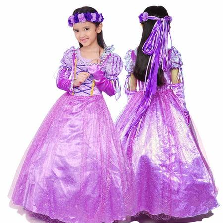 Rapunzel Dress For Kids (Rapunzel Princess Party Costume Long)