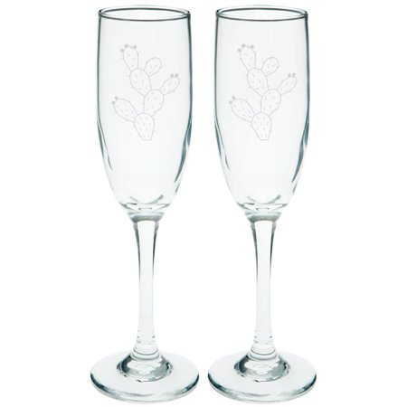 Cinco de Mayo Prickly Pear Cactus Etched Champagne Glass Set ()