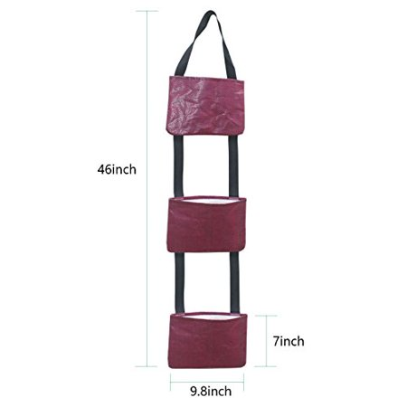 Vertical Grow Bag (Mr.Garden Patio Flower Planter, Grow Bag, Vegetable Container,Garden Planter Vertical 3 pockets, Red)