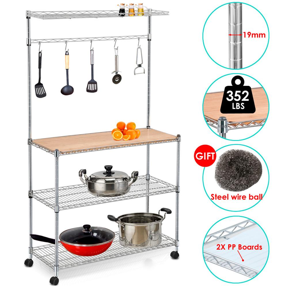 "Yaheetech 35"" L x 14"" W x 61"" H 4 Tiers Adjustable Kitchen Bakers Rack Kitchen Cart Microwave Stand with Bamboo Cutting Board Standing Chrome Finish Shelves Coffee Workstation"