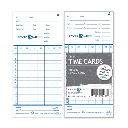 Pyramid 4000 Time Cards (Pyramid 42415 Genuine Time Cards for 2500, 2600 & 2650 Auto Aligning Time Clocks, 200/Pk)