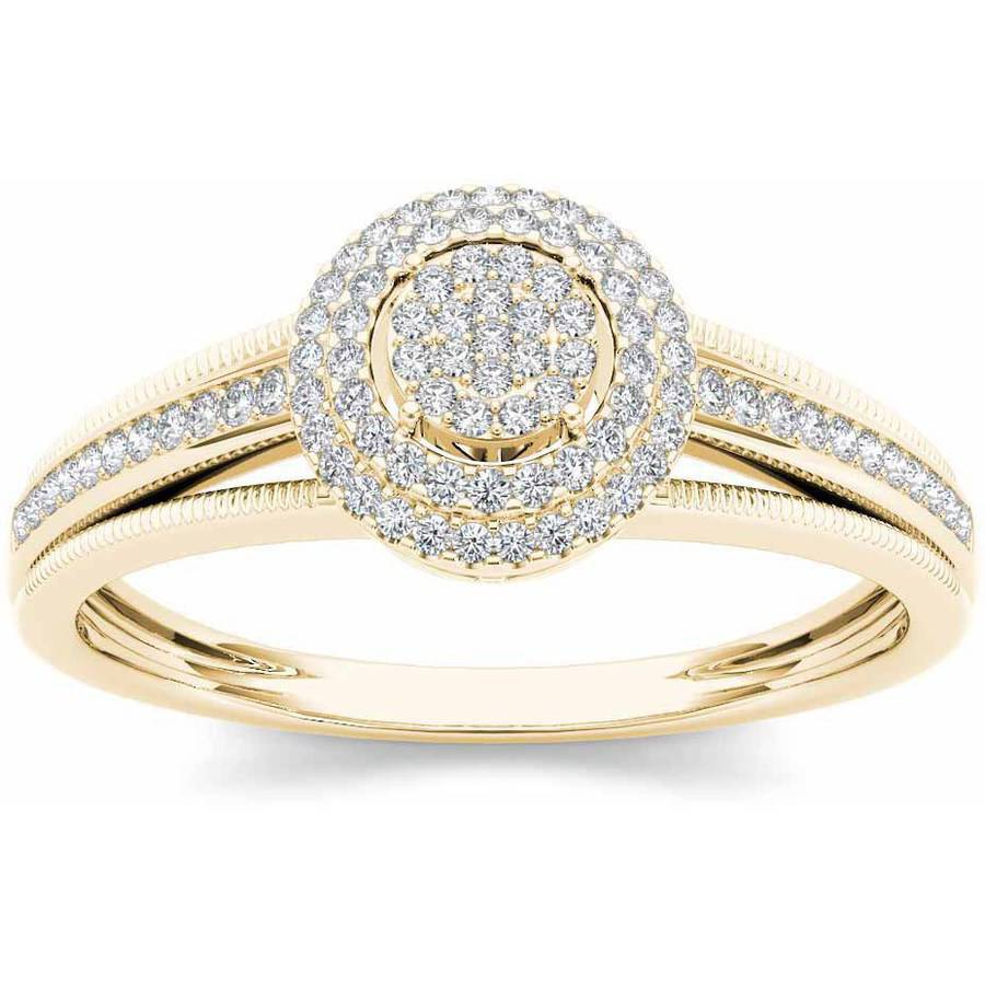 Imperial 1 5 Carat T.W. Diamond Double Halo Cluster 10kt Yellow Gold Engagement Ring by Imperial Jewels