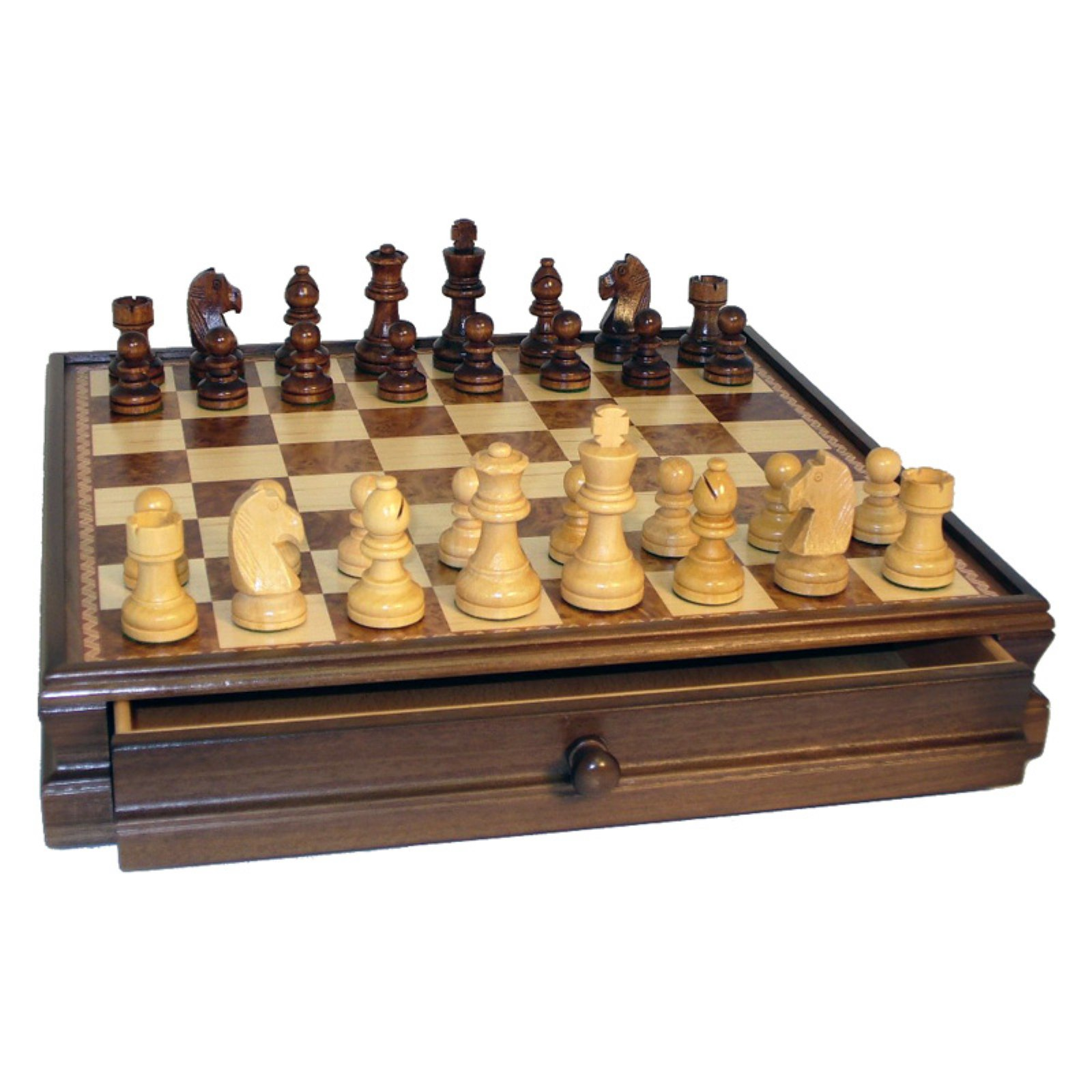"""15"""" Walnut and Maple Drawer Chest Chess Set by WorldWise Imports"""