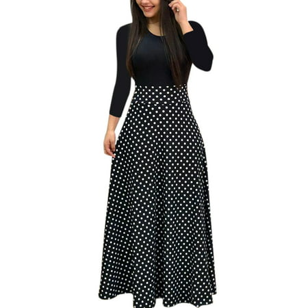 Autumn Women Long Sleeve Print Gored Skirt Boho Ladies Party Evening Holiday Maxi Dress (Long Sheer Maxi Dress)