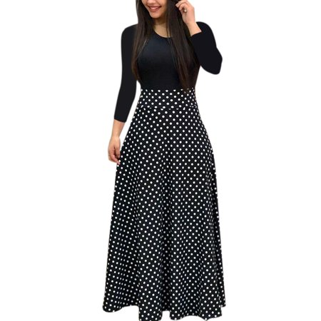 Arabian Party Dress (Autumn Women Long Sleeve Print Gored Skirt Boho Ladies Party Evening Holiday Maxi)