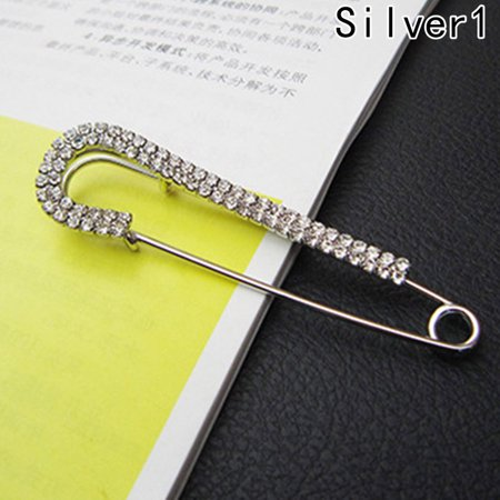 Fancyleo New Safety Pins Women Crystal Brooches Sliver Gold Catch Scarf or Lapel covid 19 (Pearl White Gold Brooch coronavirus)
