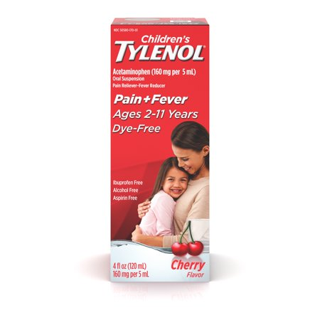 Children's Tylenol Pain + Fever Medicine, Dye-Free Cherry, 4 fl. (Best Medicine To Reduce Fever)