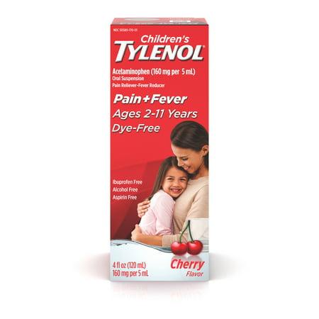 Children's Tylenol Pain + Fever Medicine, Dye-Free Cherry, 4 fl.