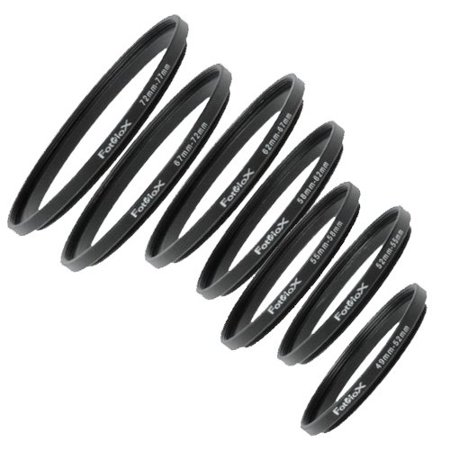 Fotodiox 7 Metal Step Up Ring Set, Anodized Black Metal 49-52mm, 52-55mm, 55-58mm, 58-62mm, 62-67mm, 67-72mm, 72-77mm