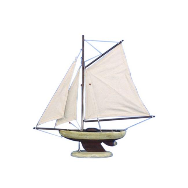Handcrafted Decor R-Bermuda Sloop17 Wooden Rustic Bermuda Sloop Model Sailboat Decoration, 17 in. by Handcrafted Decor