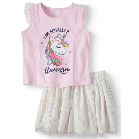 Wonder Nation Tank Top & Reversible Skirt, 2pc Outfit Set (Toddler Girls)](1970 Outfits)