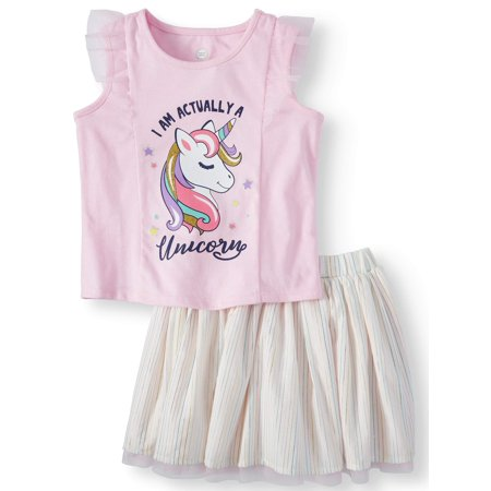 Wonder Nation Tank Top & Reversible Skirt, 2pc Outfit Set (Toddler Girls)