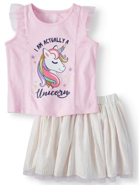 30770914d2a91 Product Image Wonder Nation Tank Top & Reversible Skirt, 2pc Outfit Set  (Toddler Girls)