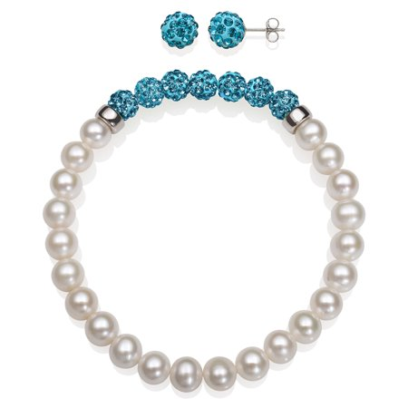 6-7mm Cultured Freshwater Pearl and 8mm Turquoise Crystal Bead Stretch Bracelet Stud Earring Set, 7.5
