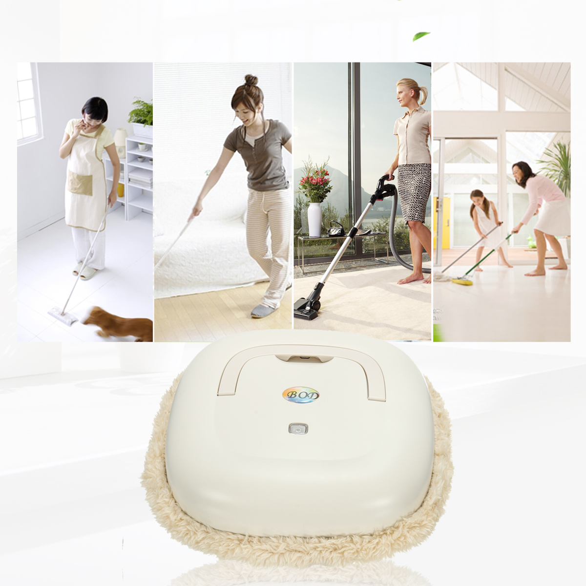 Washable Microfiber Mop Smart Robot Vacuum Floor Sweeper Home Cleaning Automatic Dry/Wet Cleaner