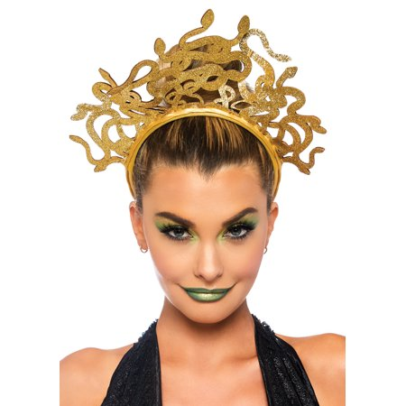 Leg Avenue Women's Medusa Costume Headband, Gold, - Madusa Costumes