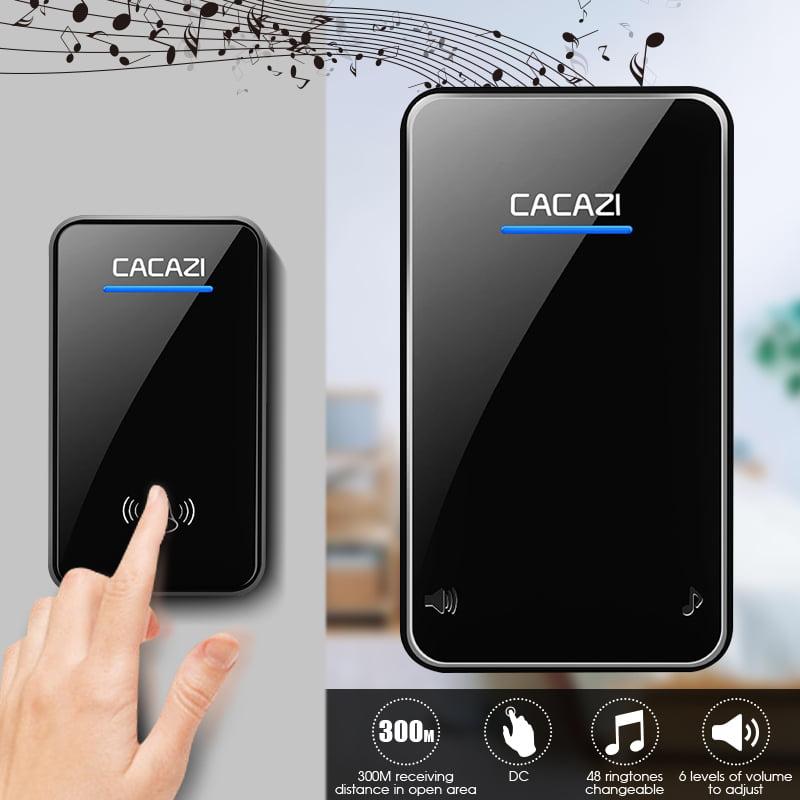 CACAZI 48 Songs Chime Ring Waterproof Wireless Doorbell 300M Range Remote Door Bell 1 Transmitter + 1 Receiver