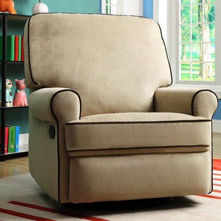 Best Home Chloe Sand Fabric Nursery Swivel Glider Living Room Recliner