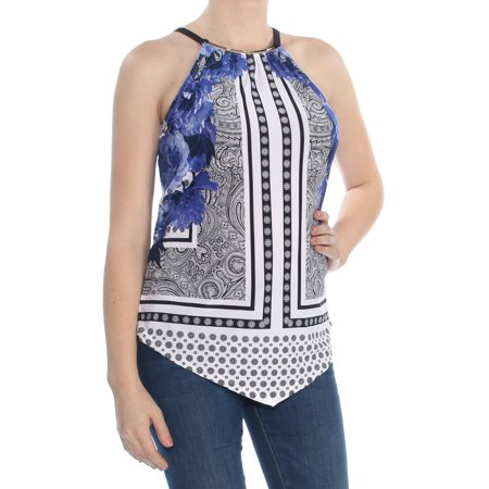 INC Womens Blue Embellished Asym Sleeveless Halter Top  Size: M