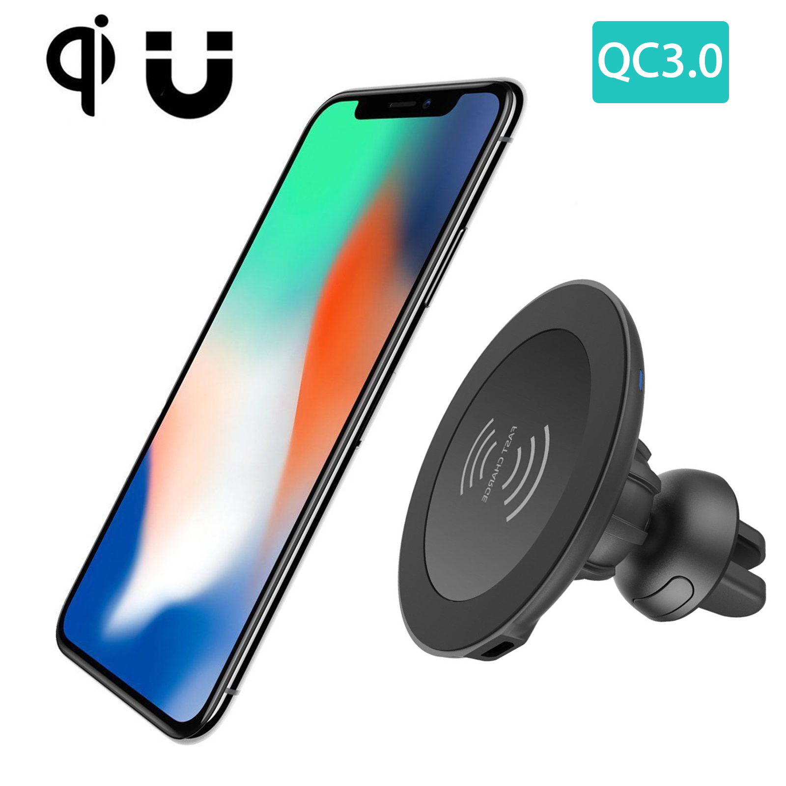 TSV Qi Wireless Car Charger Magnetic Air Vent Mount Holder For iPhone X 10 8 8 Plus+