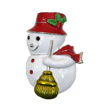Gorgeous Crystal Snowman Pin Brooch - Red