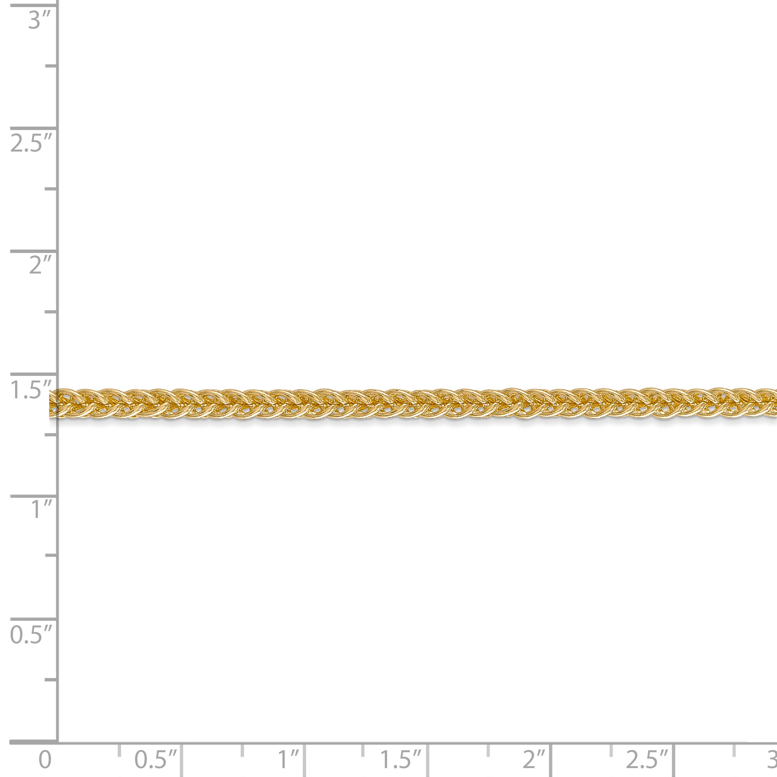 14K Yellow Gold 2.60mm Semi-solid 3-Wire Wheat Chain 18 Inch - image 4 of 5