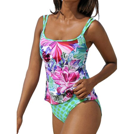 2Pcs Women Floral Padded Bikini Set Strappy Swimsuit Swimwear Tankini Vest Tops