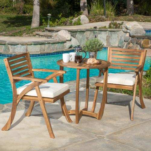 Cadence Acacia Wood 3-Piece Outdoor Bistro Set, Teak Finish by GDF Studio