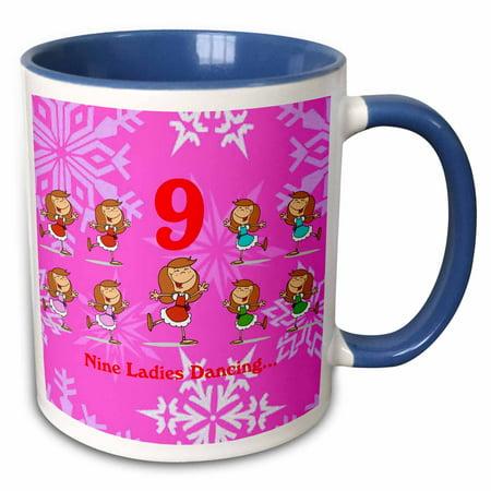 3dRose 12 Days Of Christmas Nine Ladies Dancing... - Two Tone Blue Mug,