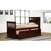 Twin Cherry Captain's Bookcase Bed with Storage