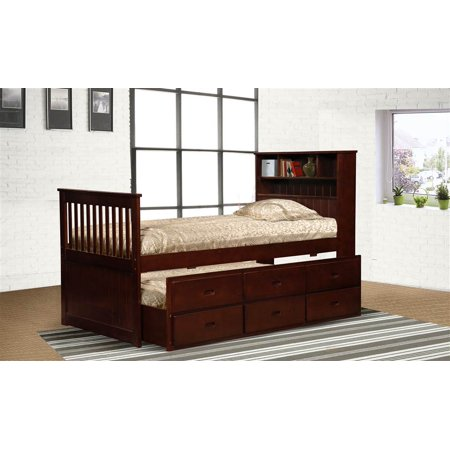 twin cherry captain 39 s bookcase bed with storage. Black Bedroom Furniture Sets. Home Design Ideas