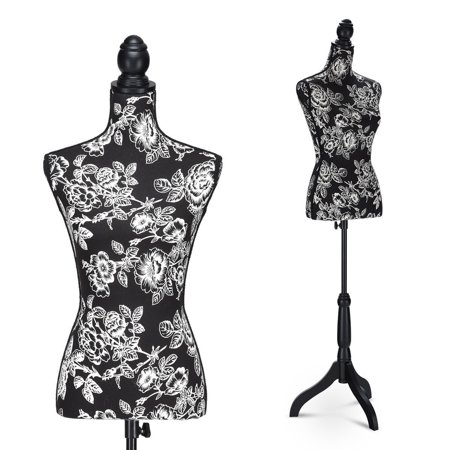 - Costway Height Adjustable Female Mannequin Torso Dress Form Display w/Black Tripod Stand