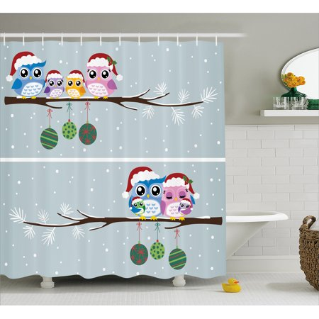 Owl Shower Curtain Set Mother Father Baby Owls On Tree Branch Celebration Holly Season New